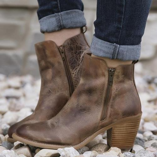 Vintage Casual Chunky Heel Booties PU Leather Zipper Booties