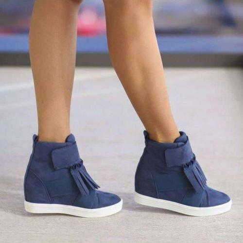 Women Round Toe Slide Pu All Season Removable Tassel Sneakers