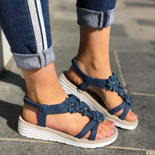 Women Casual Summer Flower Wedge Sandals