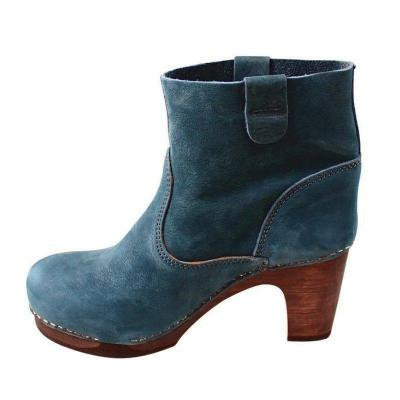 Slip On Block Heel Clog Ankle Boots