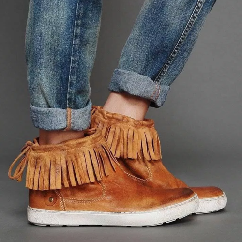Fringe Sneakers Flat Heel Strappy Artificial Leather Sneakers