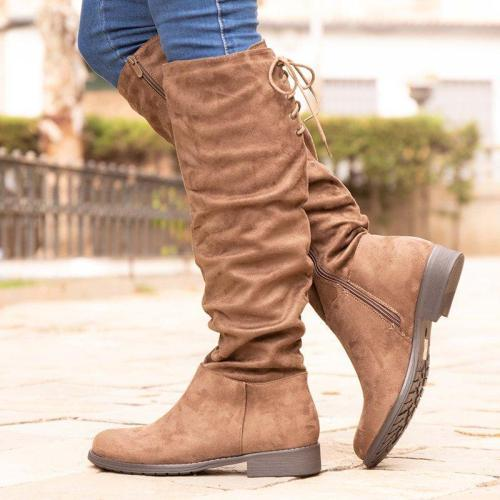 Low Heel Artificial Suede Womens Knee-High Boots