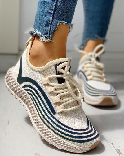 Striped Lace-Up Muffin Casual Sneakers