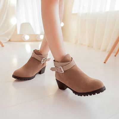 Flock Buckle Short Boots Plus Size Women Shoes 9477