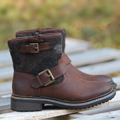 Women Fall Fabric Split Joint Low Heel Boots