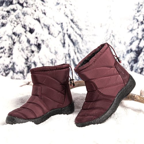 Purple Winter Elastic Band Cotton Boots
