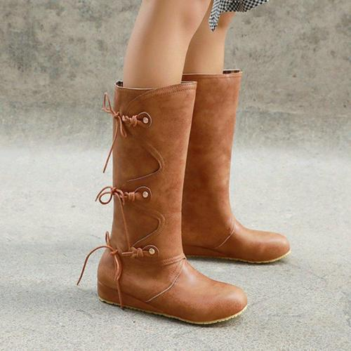 Retro Simple Style Lace-up Wedge Heel Boots
