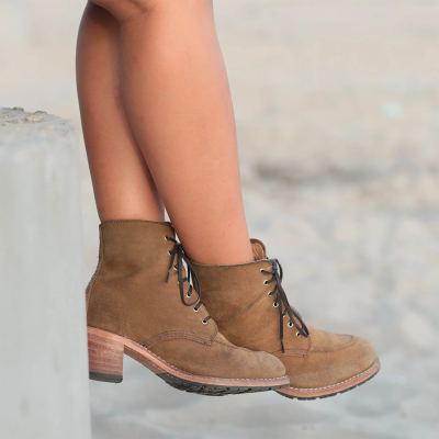 Women Casual Daily Chunky Heel Lace Up Ankle Boots