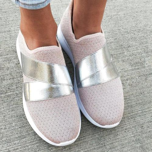 Athletic Style Slip-On Elastic Band Breathable Sneakers