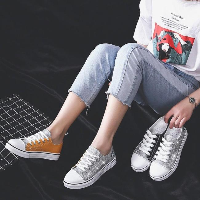 Sneakers For Women Sequin Lace-Up Women Fashion Sneakers