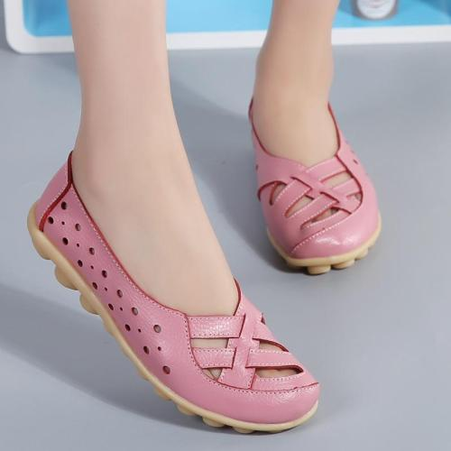 Genuine Leather Shoes Women Plus Size Flat Shoes Soft Leather Loafers Women Flats For Ballet Nurse Shoes Casual Chaussures Femme