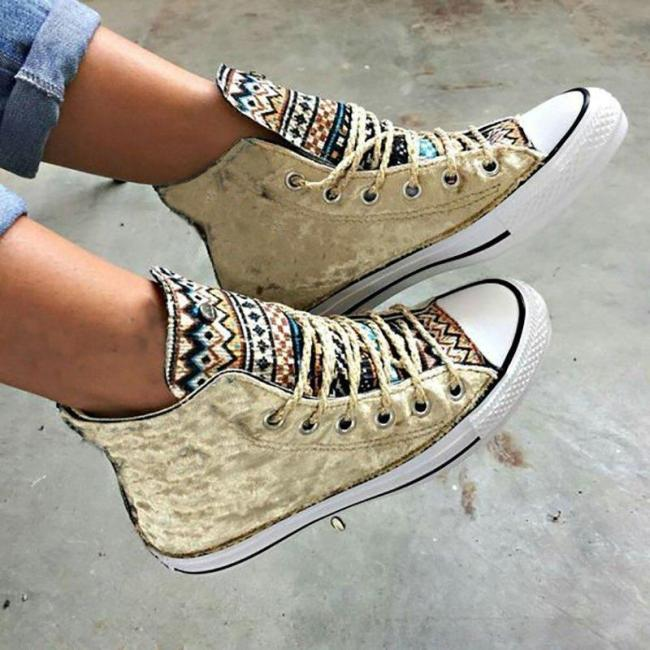 All Season Athletic Lace-Up Boho Canvas Sneakers Ankle Boots