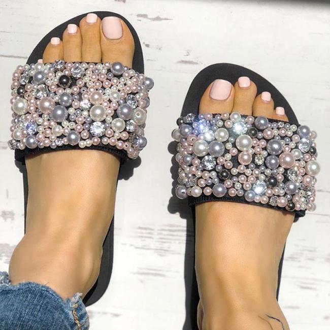 Pearls Embellished Single Strap Flat Sandals