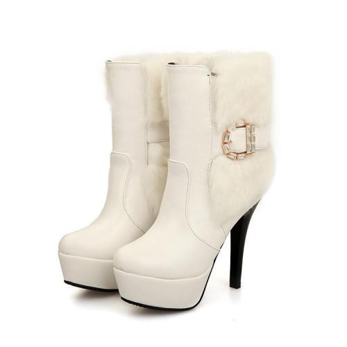 Fur Platform High Heels Short Boots Plus Size Women Shoes 9446