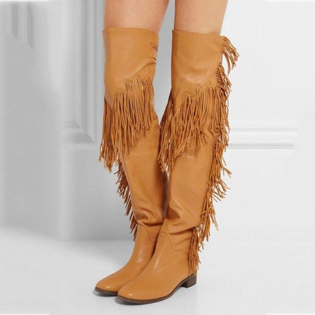 Buckle Pu Leather Fringe Tassel Thigh-High Boots Party Prom Boots