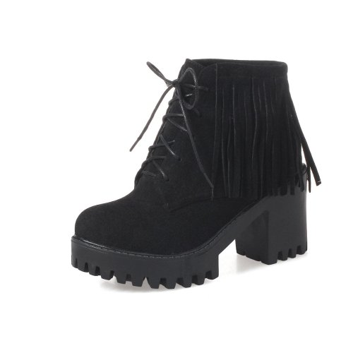 Women Shoes High Heel Tassel Lace Up Platform Short Boots