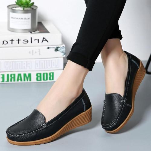 Women Flats Spring Summer Shoes Women Heels 4.3CM Genuine Leather Chaussures Femme Casual Women Loafers Ballet Flat Shoes