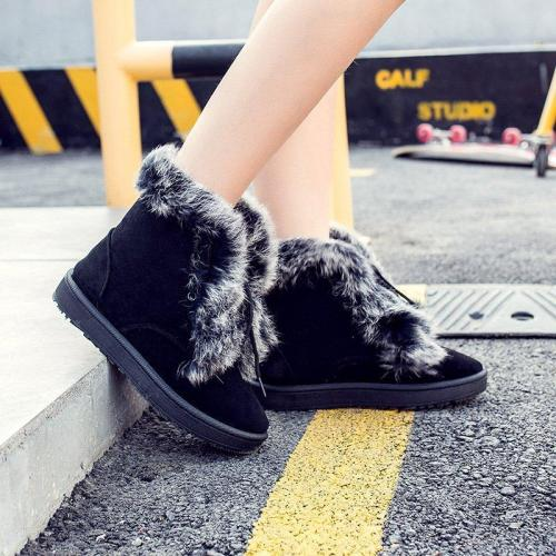 Lace-Up Snow Boots Winter Warm Flat Heel Womens Boots