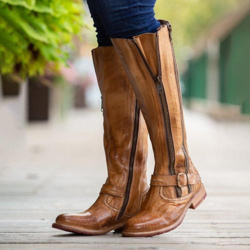 Women Vintage Daily Artificial Leather Zipper Mid-Calf Boots