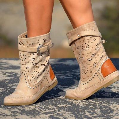 Plus Size Boho Suede Flat Heel Hollow Out Mid Boots