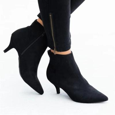 Elegant Pointed Toe Side Zipper All Season Suede Boots