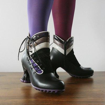 Women Vintage Lace-Up Ankle Boots