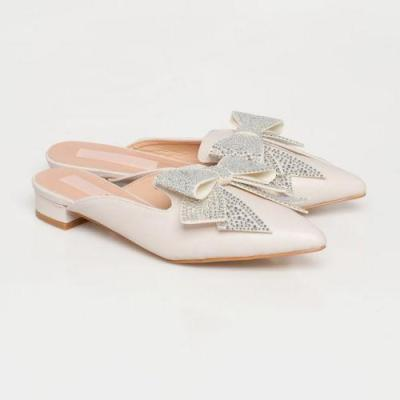 Pointed Bow Low Heel With Round Head Sandals
