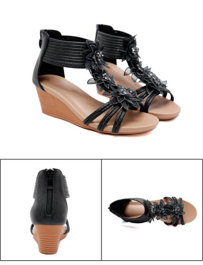 2019 Summer Flowers Shoes Women Wedge Sandals Fashion Ladies Wedge Shoes Casual Woman Summer Holiday Shoes A1456