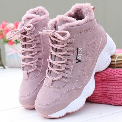 cuteshoeswearHILYAA New Sneakers Woman Winter Ankle Vulcanized shoes Warm Thick Plush Suede Female PU Leather Outdoor Sneakers  Fur Women