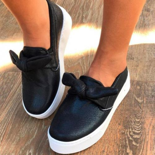 Woman Bowknot Platform Casual All Season Slip-on Flats Sneakers Loafers