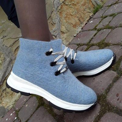 Women Winter Slip-On Lace-Up Woolen Sneakers
