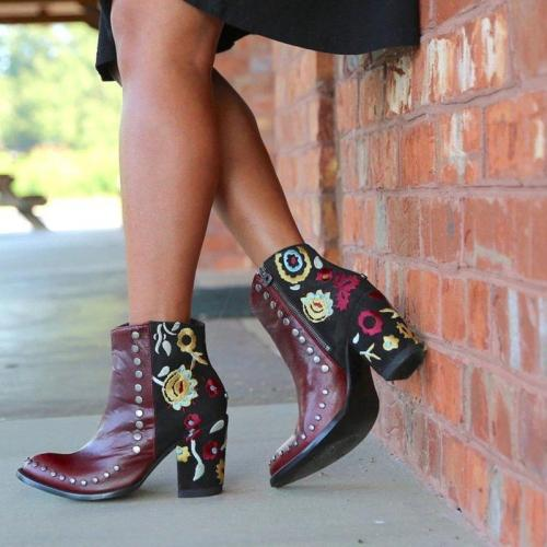 Rivet Chunky Heel Womens Fashion Floral Zipper Ankle Boots
