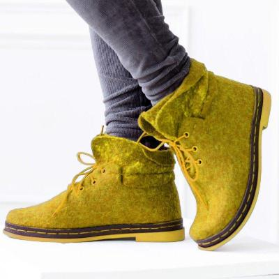 Women Winter Slip-On Lace-Up Woolen Ankle Boots