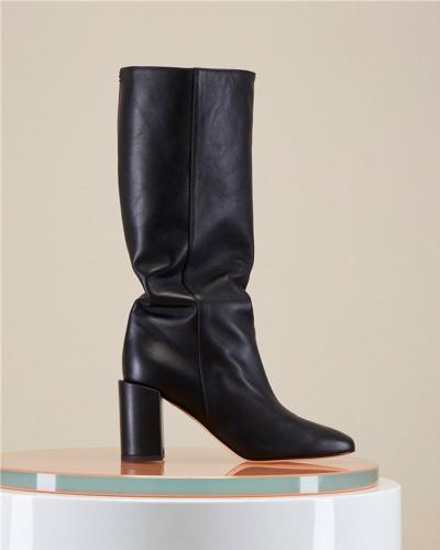 Solid Chunky Mid-Calf Boots