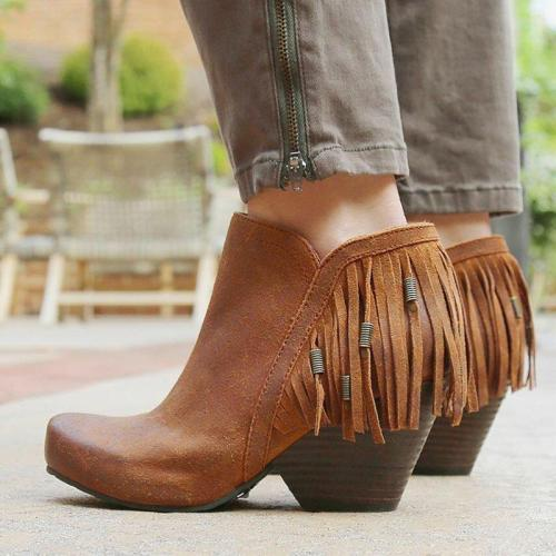 Retro Tassel All Season Chunky Heel Zipper Ankle Boots