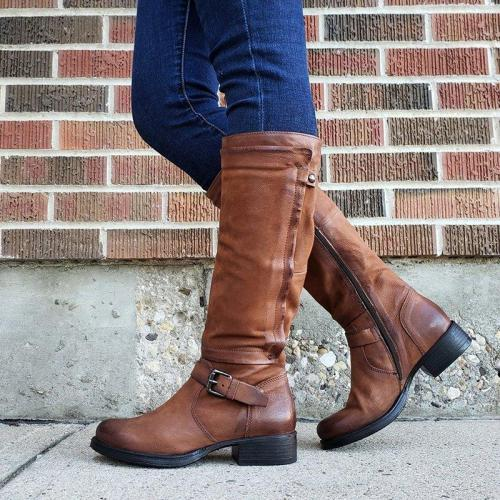 Women's Vintage Buckle Zipper Boots