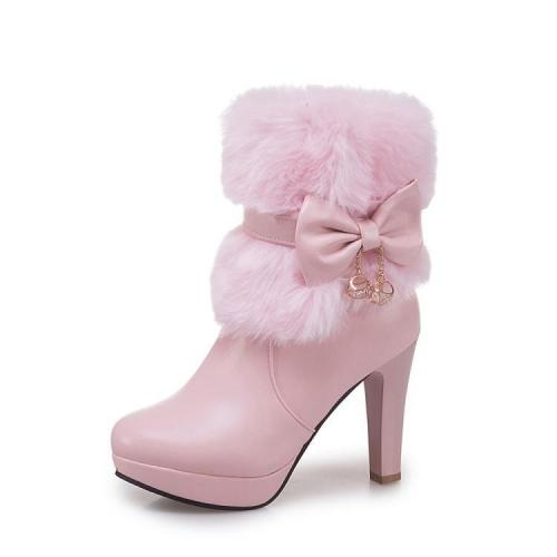 Women Shoes Thick Heel High Heel Warm Winter Platform Short Boots