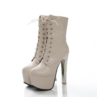 Women's Lace Up Platform Ankle Boots Extreme High Heels Shoes Autumn and Winter 2792