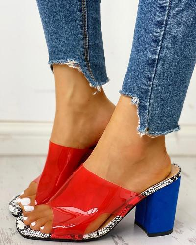 Peep Toe Transparent Chunky Heeled Sandals