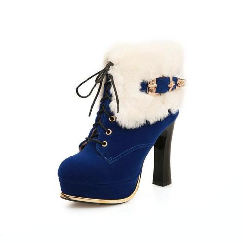 Lace Up Fur High Heels Platform Short Boots Plus Size Women Shoes 6555