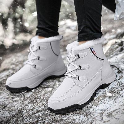 Warm Lace Up Low Heel Snow Boots