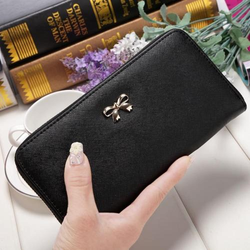 2020 Women Long Clutch Wallets Female Fashion PU Leather Bowknot Coin Bag Phone Purses Famous Designer Lady Cards Holder Wallet