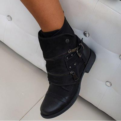 Chunky Heel Adjustable Buckle Side Zipper Ankle Boots
