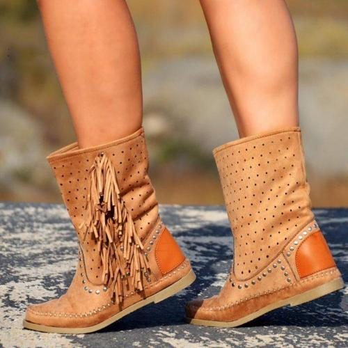 Plus Size Tassel Boho Suede Flat Heel Hollow Out Ankle Boots