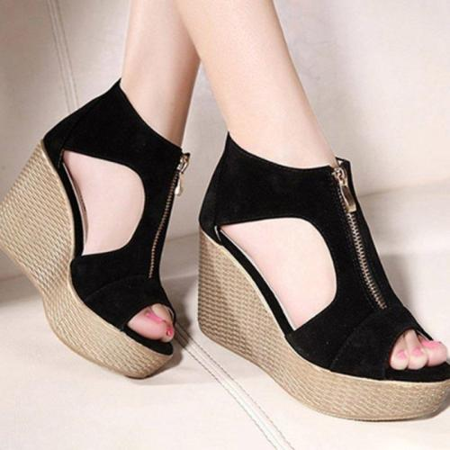 Suede Peep Toe Slip-On Women's Wedge Shoes