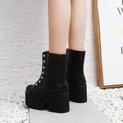 Women Shoes Rivets High Heel Platform Short Boots