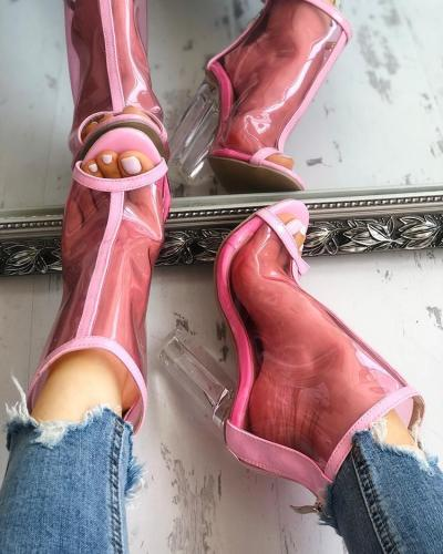 Transparent Fish Mouth Zipper Chunky Heeled Sandals