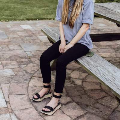 REFLECTOR in BLACK Wedge Sandals