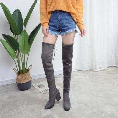 Slim Flock Over the Knee Boots Chunky Heels 6714