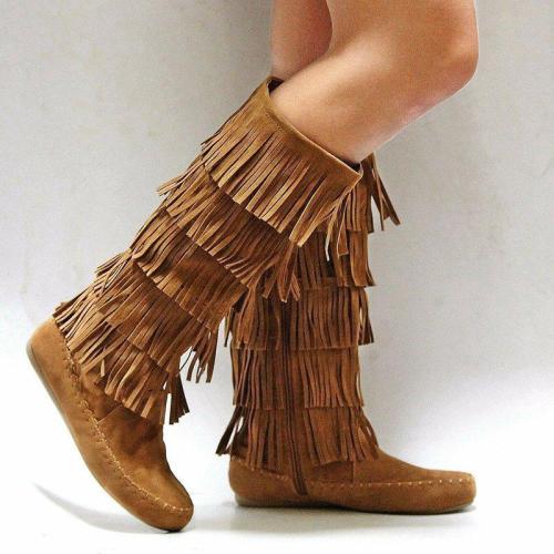 Casual Fringe Knee High Flat Heel Western Long Boots